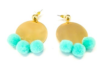 Turquoise Pom Pom and Gold Circle Statement Earrings
