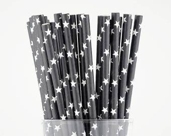 Black Stars Paper Straws - Party Decor Supply - Cake Pop Sticks - Party Favor