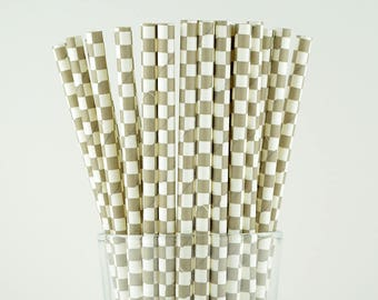 Grey Checkered Paper Straws - Party Decor Supply - Cake Pop Sticks - Party Favor