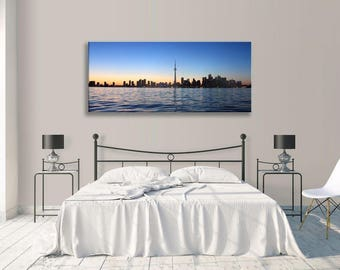 Toronto Canvas Seascape Skyline Blue  Panorama Wall Art Picture Home Decor Art