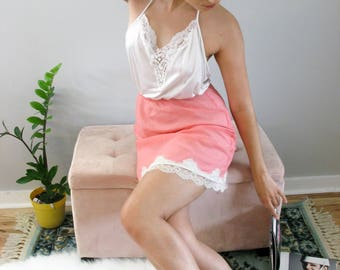 Vintage Hot Pink Character by Matej Skirt Slip White Lace Trim