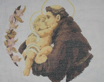 "Hand embroidered PICTURE ""Saint Anthony of Padua"""