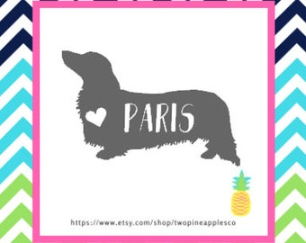 Dachshund Decal Sticker, Doxie Decal, Doxie Name Decal, Pet Name Decal, Doxen Pet Name Decal, Dachshund Pet Name Decal