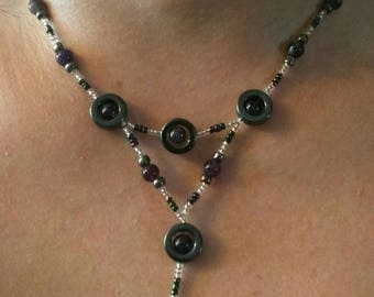 "8"" Chain Amethyst and Hematite Necklace"
