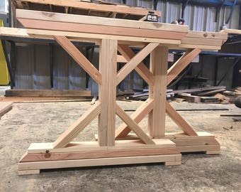 Unfinished Wooden X Base Farmtable Legs. Trestle Wooden Table Legs.  Farmhouse Wood DIY