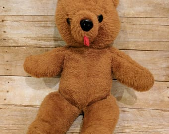 Vintage Teddy Bear Brown Sticking Tongue Out Unique Nose  70s 80s Stuffed Animal