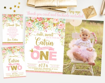 Pink and gold first birthday invitation, floral birthday invite, first birthday invitation girl, princess invite, watercolor flowers No. 001