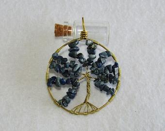 Tree of life, lapis lazuli, brass, pendant, lucky charm, elegant, chakra, fifth Chakra, Sagittarius