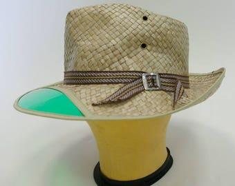 Vintage Grandpa Fishing hat straw green visor