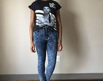 90's High Waisted Retro Acid Wash Denim Long Stretch Jeans