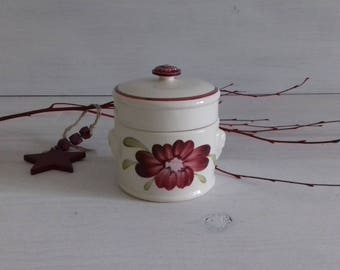 Antique pot foie gras in earthenware of Sarreguemines and Digoin collection_Marguerite 1920 hand painted