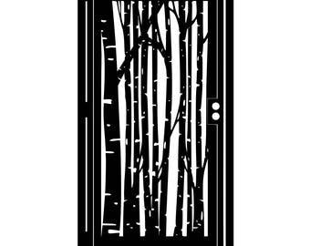 Decorative Steel Gate - Metal Art - Serene Birch Forest Wall Panel - Steel Fence Panel - Birch Art Gate - Custom Gate - Steel Panel Art Gate