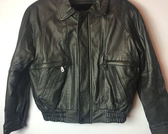 Women's Vintage Black Leather Bomber Jacket 80s 90s