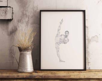 Ballet, Athletic, Dancer, Unique, Art, Print, Ballet Gift, Dance Print, Dancer Gift