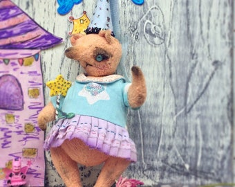 Fairy Peach ( teddy cat) Artist Teddy Bear OOAK