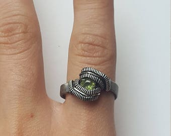 Peridot ring~Wire wrapped~ Oxidized Sterling Silver~Size 8.5