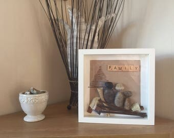 picture frame, wall art, stone family, family tree, gifts for her, gifts for him, framed art.