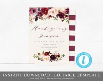 Boho Flowers Thanksgiving Dinner Invitation Card | Instant Download, Editable, Printable | Rustic Fall Invite, Friendsgiving | DC007