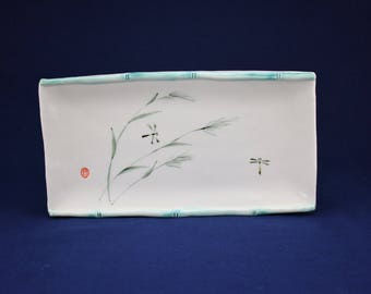 Sumi-e Porcelain. Dragonfly and Japanese grass