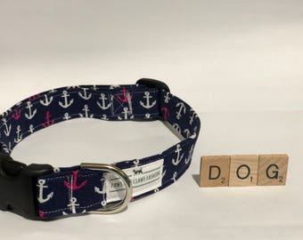 Dog/Puppy collar with anchor pattern - sea, boat, ocean - extra small, small, medium, large, extra large - FREE SHIPPING