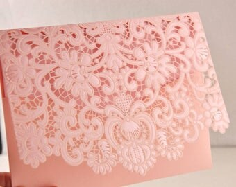 Sample Pink Laser Cut Embossed Lace for Sweet sixteen, Wedding, Baptism, Baby Shower, Birthday Invitation, etc!