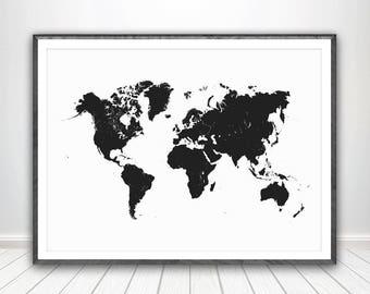 World Map Black and White Print * Large World Map Wall Art World Map Poster World Poster World Map Print World Map Art World Map Printable