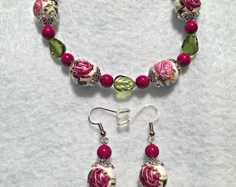 Elastic Bracelet, Set, Glass Beads, Acrylic Beads, Nickel Free Earrings.