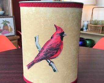 Vintage Velvet Metal Trash Can with Red Cardinal