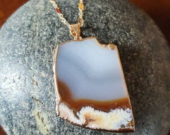 Gold Filled Necklace with Agate Pendant
