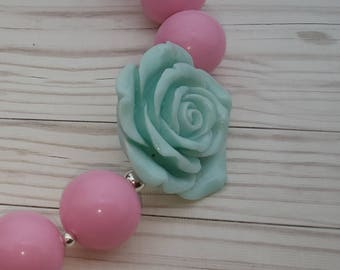 Blush pink with mint teal rose pendant