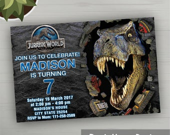 Jurassic World Invitations, Jurassic World Party, Jurassic World Birthday, Jurassic Park Party, Jurassic World Card, Jurassic  Party