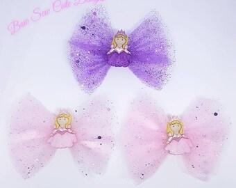 Princess tulle hair bow clips/ girls hair bows bow/ pink bow/ purple bow/ princess bow/ tulle bow/ girls hair clip/ newborn headband