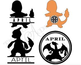 Charmander, Charmeleon, Charizard monogram silhouette cut files