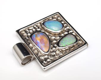 Opal Jewellery - Opal Silver Pendant with Natural Opals from Australia (Boulder Opal)