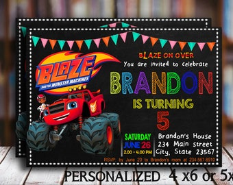 Blaze And The Monster Machines Invitation Blaze Birthday Invitation Personalized Custom Printable Digital Party Invitation