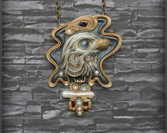 "Pendant ""Petrified eternity"" jewelry from polymer clay pendant necklace jewelry bird eagle art Nouveau modern."