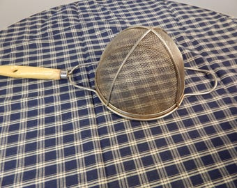 Vintage Strainer, wood handle strainer, antique strainer
