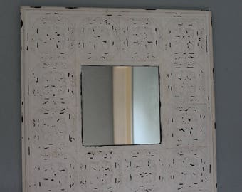 Vintage Tin Ceiling Tile Mirror - White Distressed Paint - Shabby Chic - Farmhouse - French Country - Rustic - Romantic
