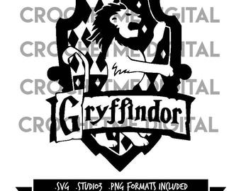 Harry Potter House of Gryffindor Silhouette Cutting Cut File SVG, STUDIO3, PNG Bundle Instant Download