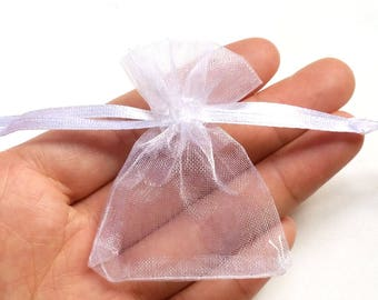 20 Organza Bag Drawstring Wedding Gift Bag Small Jewelry Pouch Party Favor White 7x5cm/3x2 inch