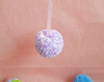 Handmade Giant Purple & White Pom Pom