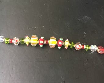 Beaded red and green bracelet