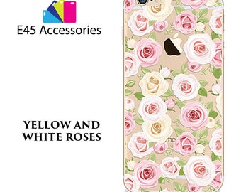 YELLO And WHITE Roses Floral Flower Hard Case for iPhone 5S 5 SE, iPhone 6S 6 or iPhone 7