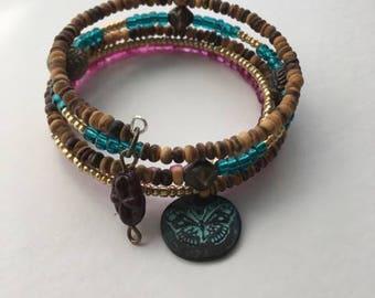 Boho style 5-wrap Memory wire bracelet with 2 charms.