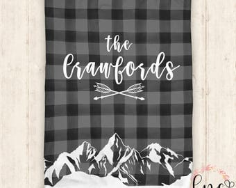 Personalized Blanket - Baby Blanket - Personalized Baby Blanket - Mountain Themed - Plaid  Blanket - Throw Blanket - Personalized Gifts