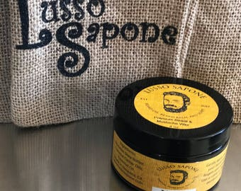 Hand Crafted Lusso Sapone 4 oz Beard & Mustache Wax (You Choose the Scent)