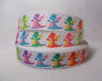 "LAST CUT of Colorful Dragon on 7/8"" Grosgrain Ribbon 10 yards. A dragon is a mythical, legendary, fire-spewing creature."