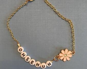 Custom kpop bias bracelet w/ flower charm