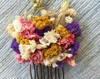 Vibrant colourful small dried flower hair slide/ comb. Handmade, Bridal, Wedding, Rustic, Natural hair piece, Bridesmaid