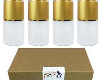 4 Piece 20 ML High Quality Frosted Glass Spray Bottle with Fine Mist Atomizer & Gold Cap for Travel Fragrances Antibacterial Cleaning Spray